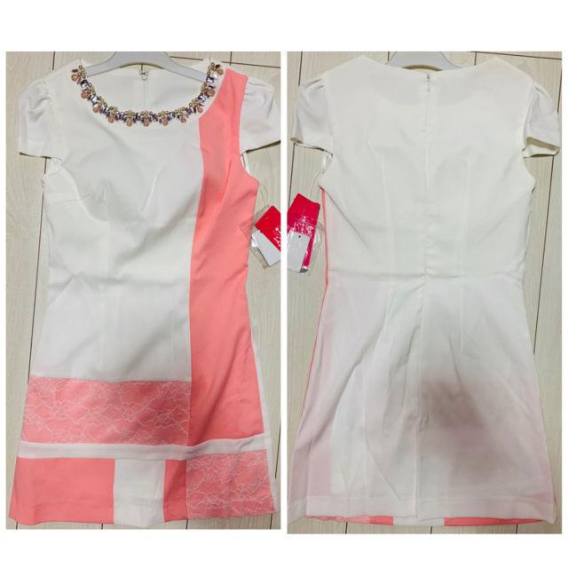 定価6980円ピンク ビジュー レース ドレス ワンピ