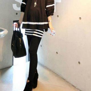 マタニティレギンス ボトム10分丈 スカート付き ブラック