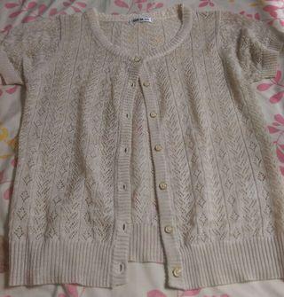 透かし編み半袖カーディガン