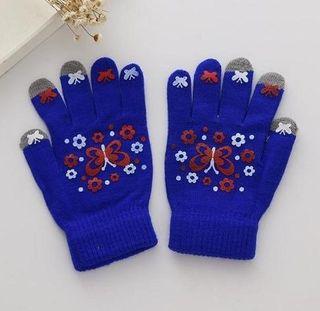 スマホ タッチパネル 3本指 手袋 ネイビーブルー