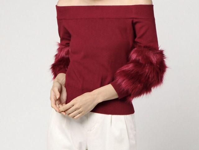 rienda  Faux Fur SLV Knit TOP