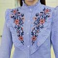 ストライプ花刺繍ボタンシャツ◆M