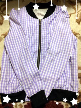 薄紫チェックブルゾン