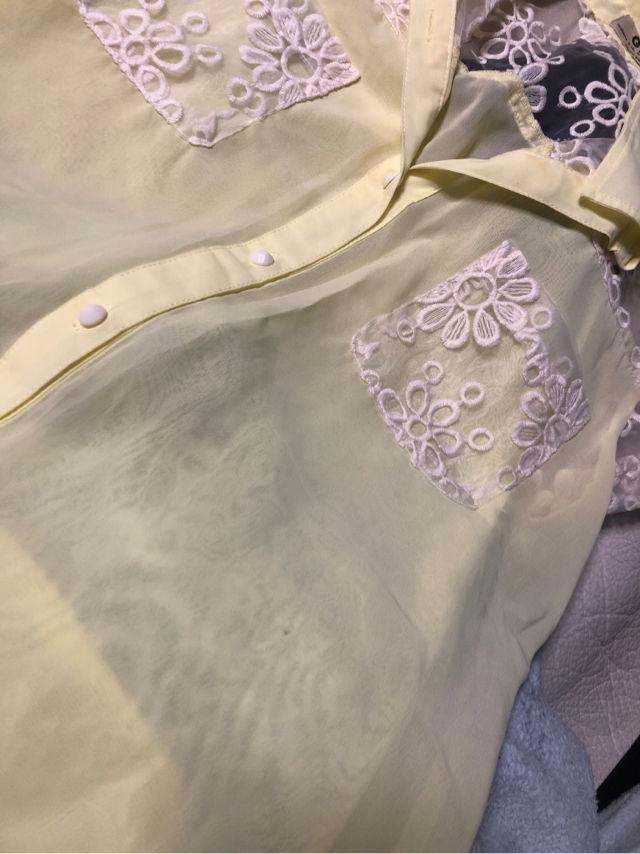 GRLシースルーシャツ 半袖 花柄
