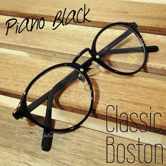 ラウンドボストンだて眼鏡ピアノブラッククリアサングラス