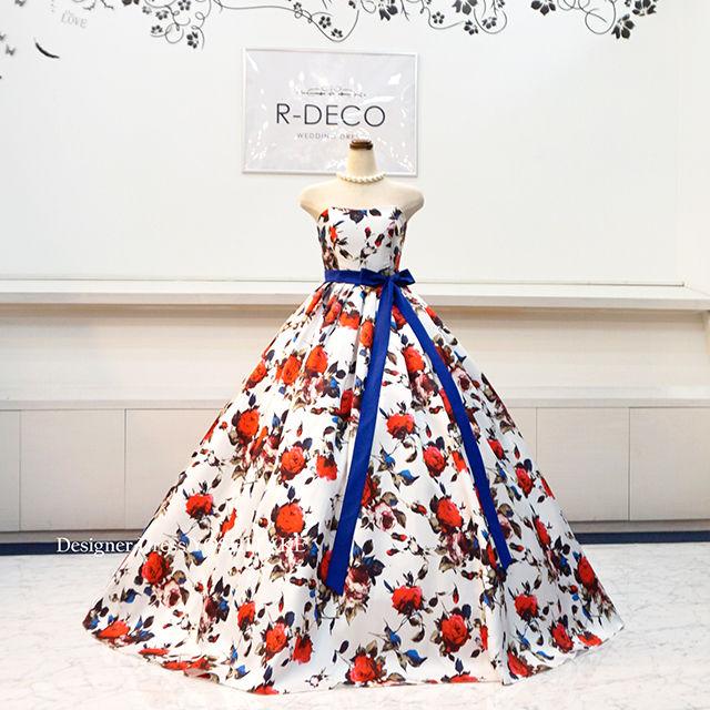 ウエデイングドレス(パニエ無料) 白ベース花柄ドレス