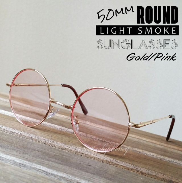ゴールドフレーム丸眼鏡 だて眼鏡 ライトスモーク レッド