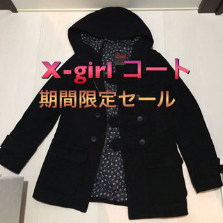 セール 美品 X-girl コート ブラック ロゴ入り 黒