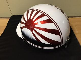 新品塗装 赤ラメ 富士日章 コルク半 ヘルメット ラメ