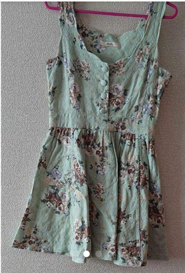 :dazzlin*春色グリーンお姫様系レトロ花柄ワンピース