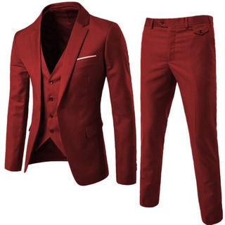 メンズスーツ 3ピース 紺 一つボタン ワインレッド