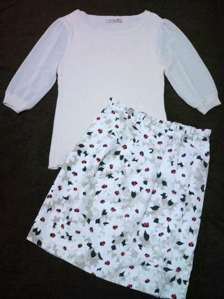 美品 アプワイザー 袖シフォンニット&スカート