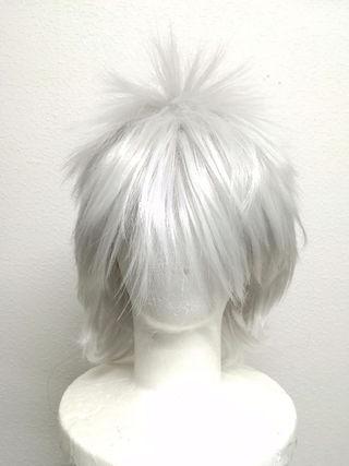 逆毛トップコスプレ用フルウィッグ☆白シルバーショート