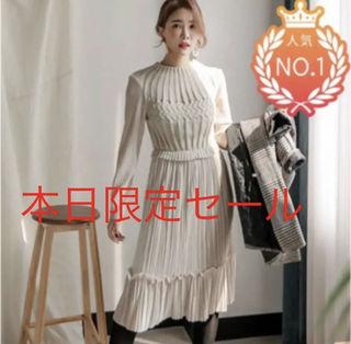韓国ファッション ベロア プリーツ ワンピース