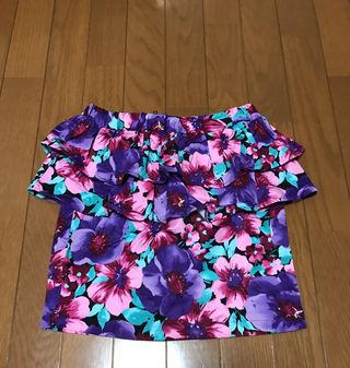 《未使用》花柄スカート パープル