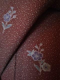 チョコブラウン*小花小紋正絹*縮緬159チョー美品