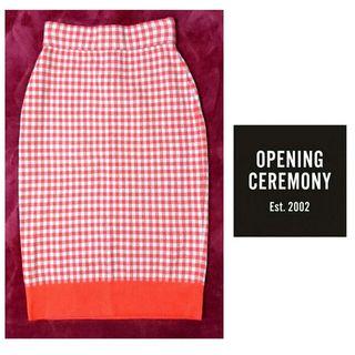 オープニングセレモニー 赤灰チェックニットタイトスカート