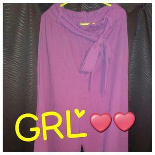 【新品未使用】GRL綺麗な紫色が素敵なワイドパンツ