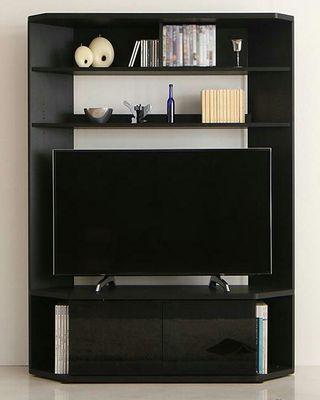 テレビ台 120cm コーナー・壁面収納型 ブラック