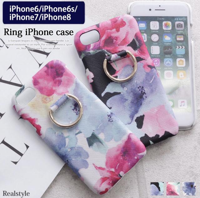 iPhone 6/6s/7/8 リング付きケース 花柄 3色 - フリマアプリ&サイトShoppies[ショッピーズ]