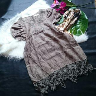 美品!アルバローザ刺繍×フリンジエスニックミニワンピ