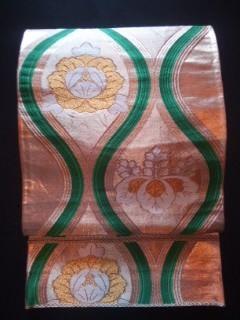 金箔緑ヨロケ★家紋柄正絹*袋ナゴヤ美品\600