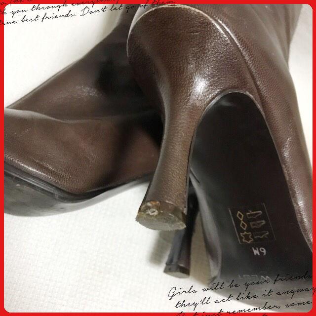 つま先細身美脚ブーツ 中古品 こげ茶 ヒール8cm美脚高さ