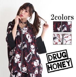 【drug honey】欺瞞の狐面柄 総柄ジップシャツ黒
