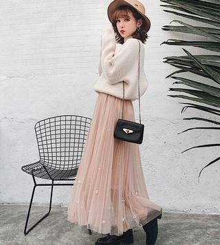 お花ビジューチュールスカート~フリーサイズ