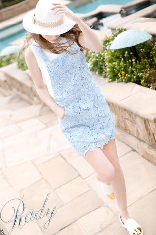 美品 クロシェレース スカート サロペット ブルー 水色