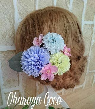 パステルマムとfunwari桜の髪飾り7点Set No05