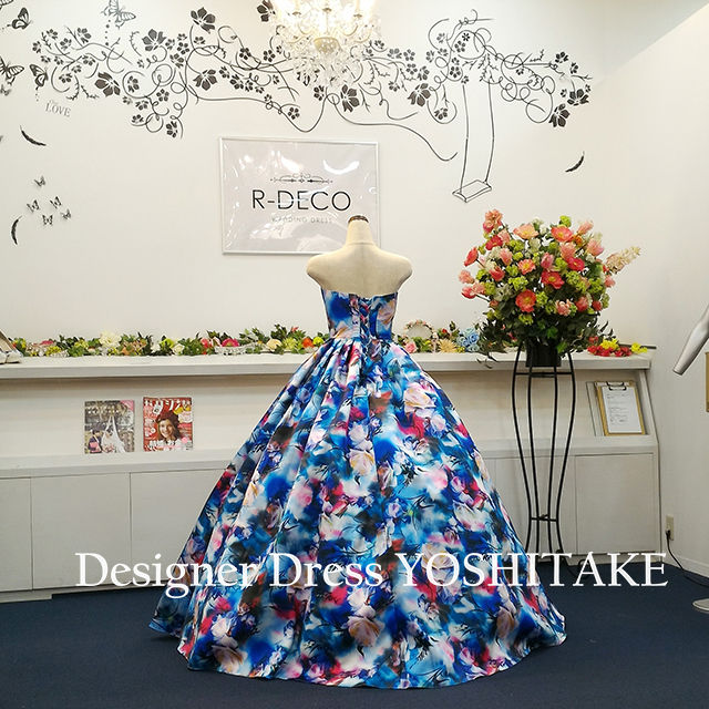 ウエディングドレス(パニエ無料) ブルー花柄