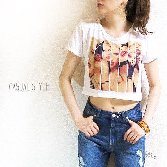 【交換不可】女性柄クロップト転写プリントTシャツ