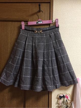 エブリン チェック柄ベルト風スカート