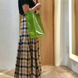 Mila owen チェックロングスカート