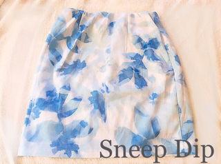 SneepDip水彩画フラワータイトスカートBlue