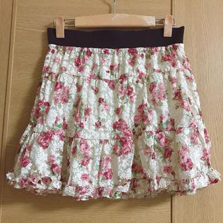 ジャイロホワイト 花柄スカート