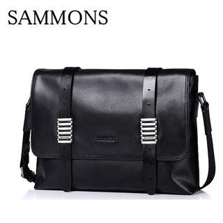 SAMMOMSメンズメッセンジャーバッグ牛革黒A62
