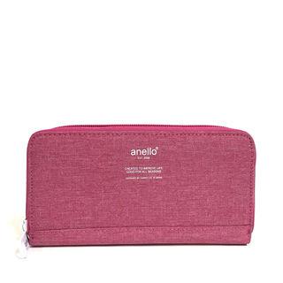 【anello】高密度杢調素材ロングウォレット[ピンク]