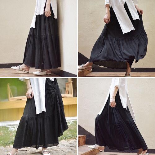 【ブラック 95】ティアード フレア ロングスカート