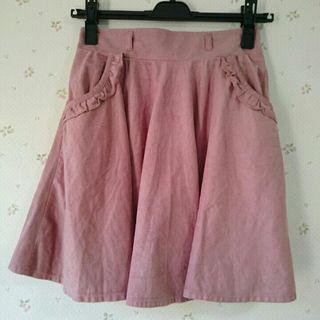 アラマンダピンクスエードスカート