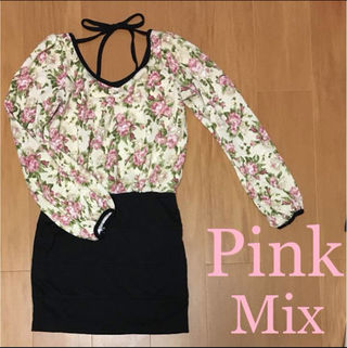 Pink Mix/VG花柄タイトワンピース