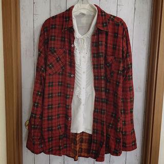 used チェックシャツ ネルシャツ 古着 RED 赤