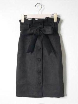 Emsexcite ベルト付きスエードタイトスカート