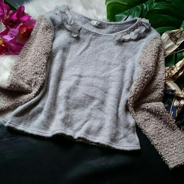 美品!rinetta飾り×異素材使いニット×セーター - フリマアプリ&サイトShoppies[ショッピーズ]