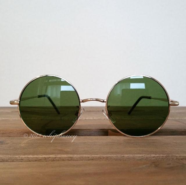 丸眼鏡ゴールドフレームだて眼鏡ライトスモークグリーンレンズ