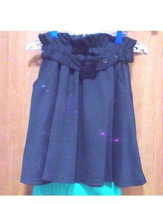 GRL ハイウエストベルト付きフレアスカート 黒