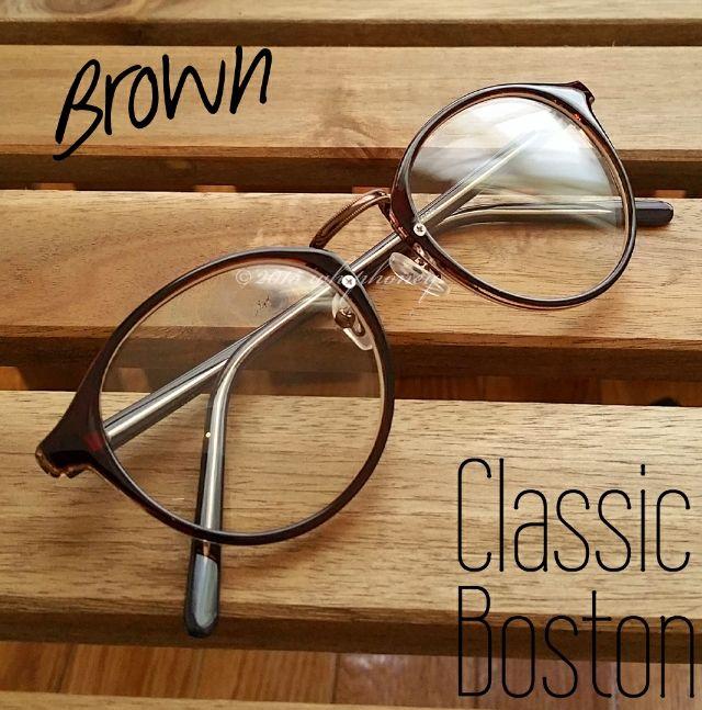 ラウンドボストンだて眼鏡ブラウンフレームクリアサングラス