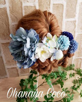 青系 芍薬とマムの髪飾り7点Set No245
