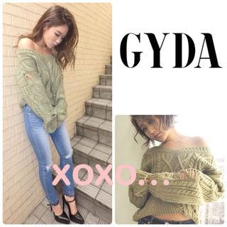 新品 GYDA ダメージニットトップス